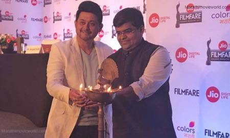 Mr. Jitesh Pillai and Swwapnil Joshi at Jio Marathi Filmfare Awards